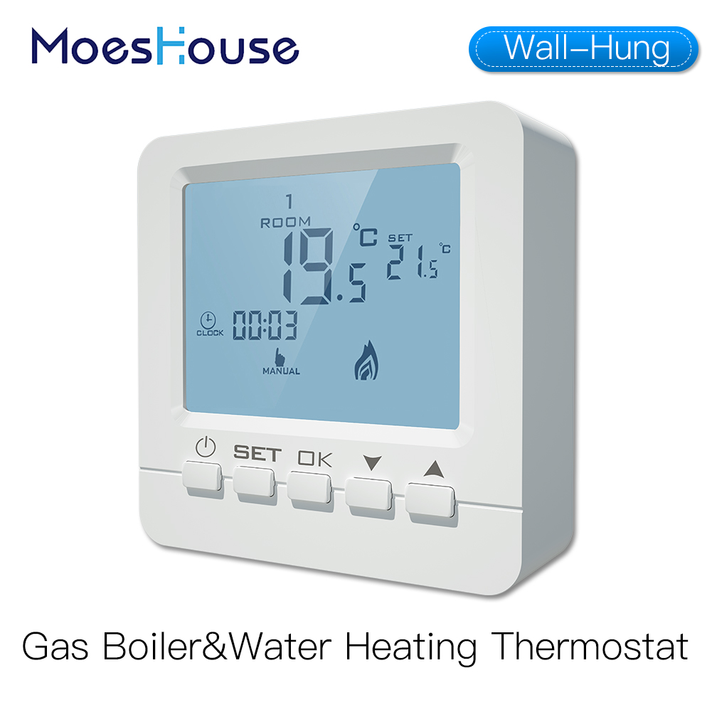 Wall-Hung Gas Boiler Thermostat Water Heating Temperature Controller Programmable Battery Powered With Backlight LCD 5A