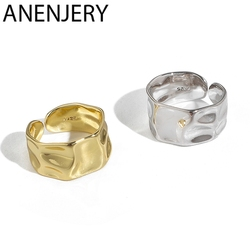 ANENJERY Fashion Irregular Concave Convex Gold Silver Color Ring Width Open Finger Ring For Women Men S-R713