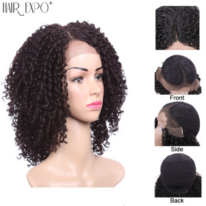 Image 4 - 14inch Kinky Curly Lace Front Wig Synthetic Short Black Hair For Black Women Lace Wigs Heat Resiatant Side Part Hair Expo City