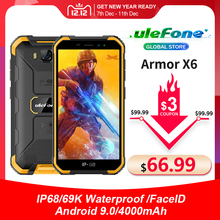 Ulefone Armor X6 IP68 Waterproof Smartphone MT6580 Quad core Android 9 Face Unlock 2GB 16GB 4000mAh 3G Global Version Phone