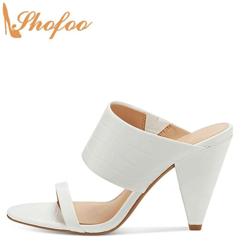 Croc blanc en relief talons hauts cône sandales femme bout ouvert sangle grande taille 12 15 dames été chaussures de loisir à la mode Shofoo