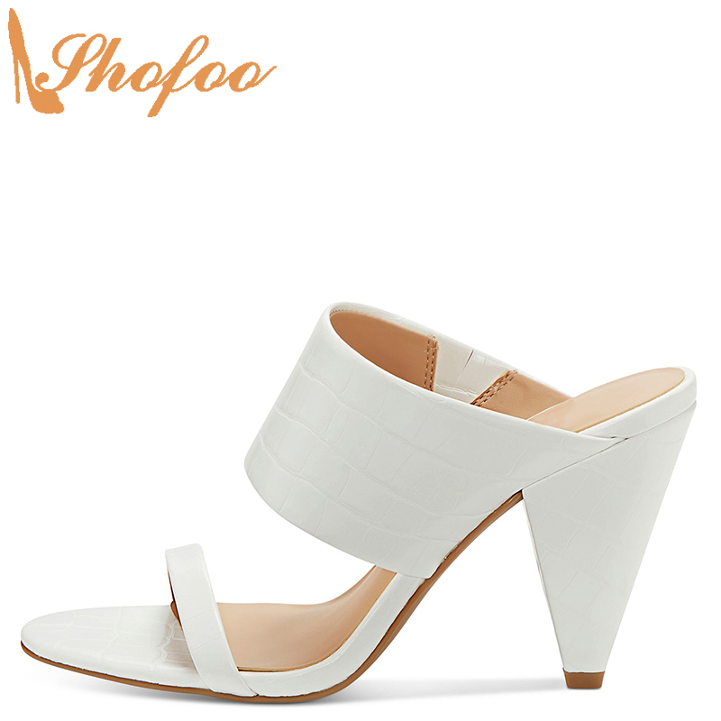 White Croc Embossed High Cone Heels Sandals Woman Open Toe Strap Large Size 12 15 Ladies Summer Fashion Casual Shoes Shofoo