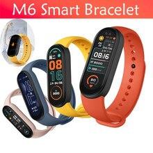 2021 nova m6 banda inteligente pulseira de fitness rastreador freqüência cardíaca monitor pressão arterial relógio inteligente esporte à prova dwaterproof água para ios android