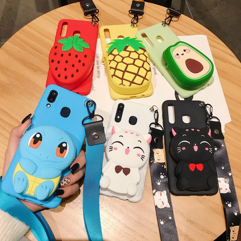 Cute 3D Cartoon Bear Fruit Silicone Wallet Soft Phone Case For iphone X XR XS 11 Pro MAX 6S 7 8 plus + For samsung S10 Note 10 9