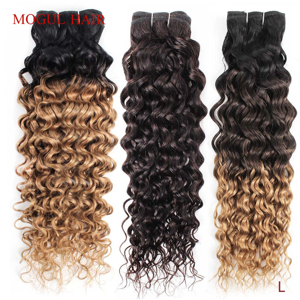 1 Bundle Dark Brown Ombre Honey Blonde Water Wave Hair Weave Natural Color 10-26 inch Remy Human Hair Extension Mogul Hair