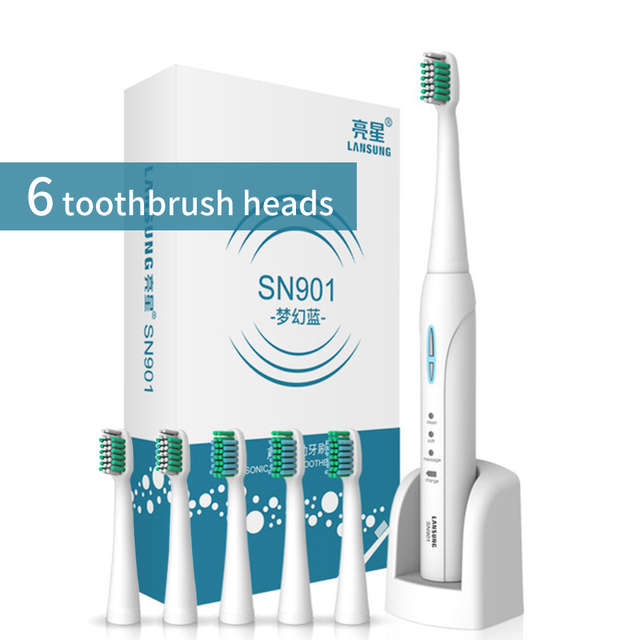 Lansung sonic elektrikli diş fırçası yetişkin akıllı Ultra sonic diş fırçası şarj edilebilir 8 diş fırçası kafaları değiştirilebilir beyazlatma