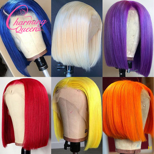 Colored BOB 13X4 Lace Front Human Hair Wigs Pre Plucked #613 Blonde BOB Yellow Red Blue Orange Brazilian Remy Straight Wig 180%(China)