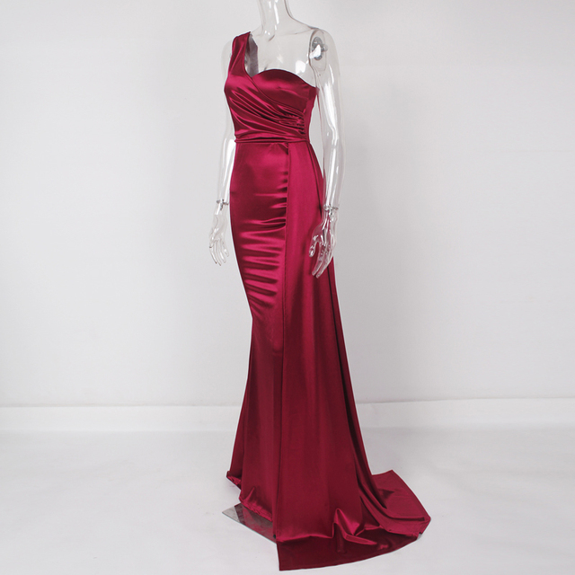 One Shoulder Sexy Brugundy Satin Maxi Dress Draped Long Evening Party Dress Gown 2