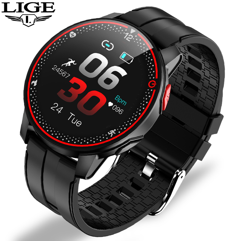 LIGE IP68 Waterproof Smart Watch Men Sports Fitness Tracker Heart Rate Monitor Android IOS Full touch screen Smartwatch Women