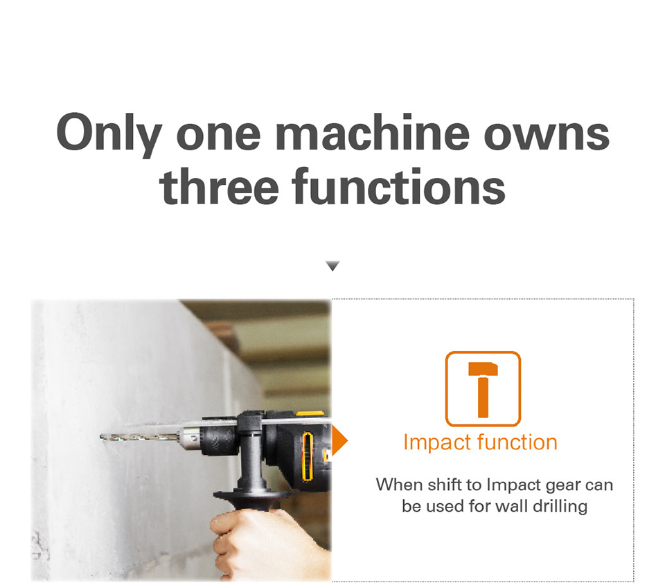 WORX 600W Impact Drill Electric Tools functions