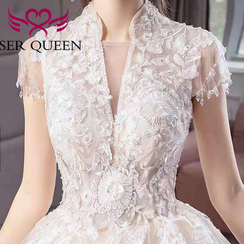 Special Embroidery Wedding Gowns High Neck Short Sleeves Wedding Dress 2020 Court Train Beautiful Beading Bride Dress WX0059