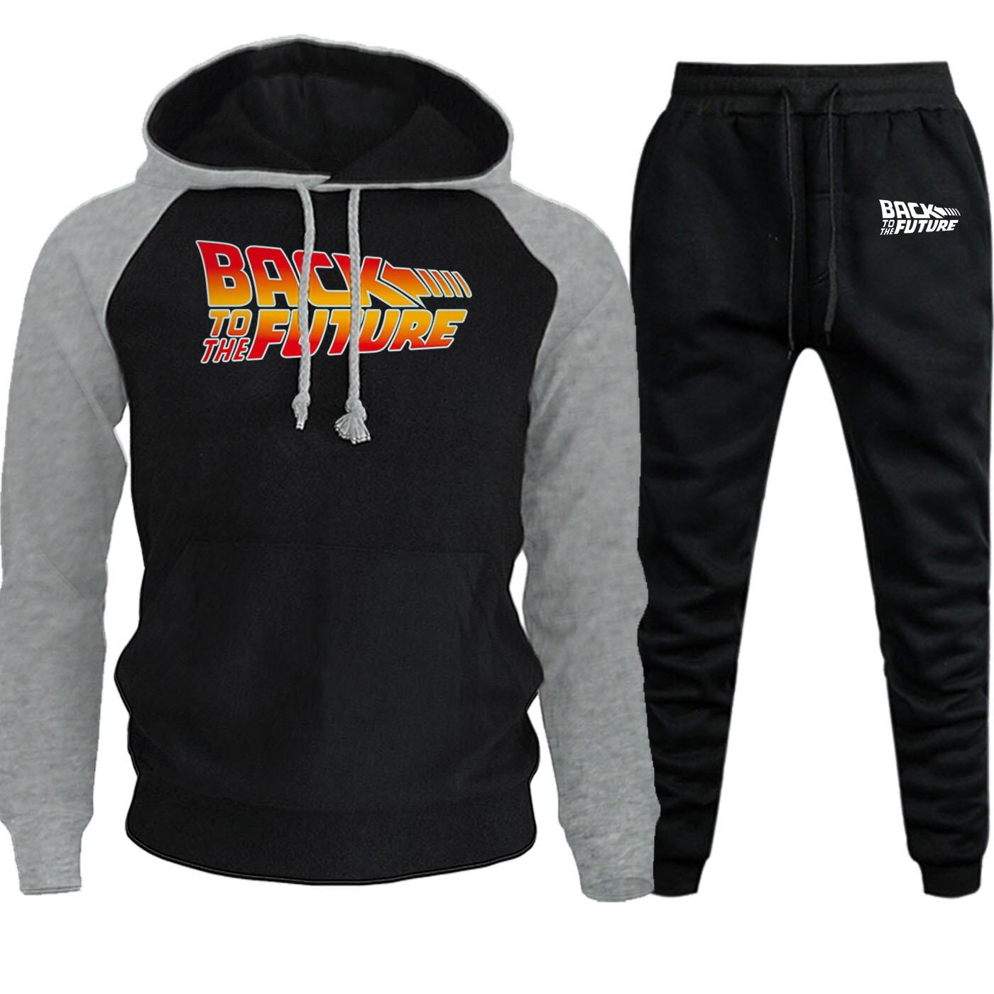 Men Raglan Hooded Sweatshirts Back To The Future Autumn Winter 2019 Suit Male Fleece Hoodies Fashion Pullover+Pants 2 Piece Set
