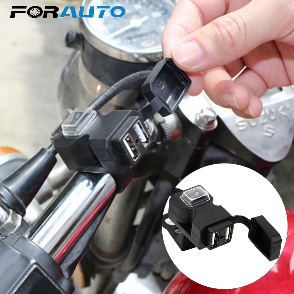 Motorcycle USB Socket Motorbike Handlebar Charger 5V 1A/2.1A Adapter Dual USB Port For Phone GPS Power Supply Socket Waterproof