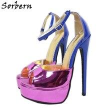 Sorbern Enkelband Zomer Sandaal Voor Vrouwen Platform Hoge Hak Open Teen Vrouwelijke Sandalen Aangepaste Kleuren Lady Hakken 14Cm 16Cm 18Cm