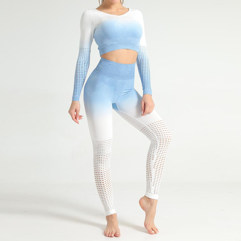 Ombre sem Costura Conjuntos de Yoga Roupas de Ginástica Oco para Fora Feminino Manga Longa Topos Leggings Fitness Sportwear Terno Conjunto Treino