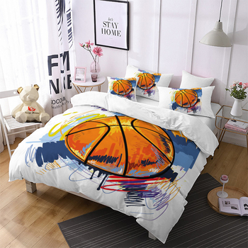 Colorful Duvet Cover Set Basketball Design Bed Linen Set Twin Full Queen King Size Bedclothes Custom Boys Microfiber Bedding Set