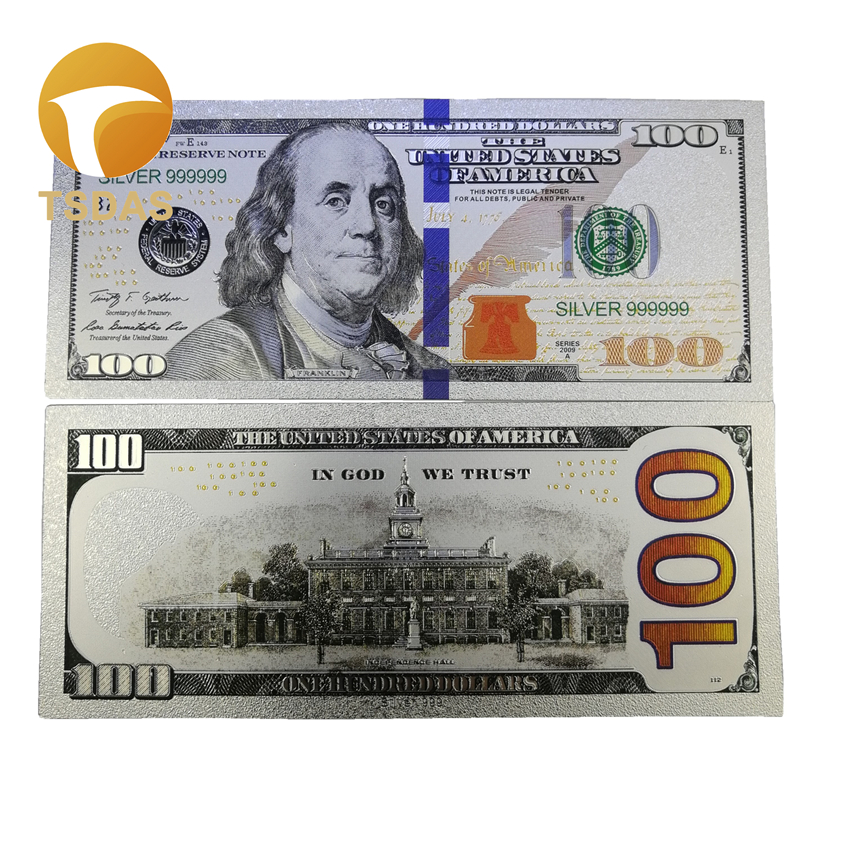 10pcs/lot America Banknotes Dollar Silver Banknote Plated 100 USD For Collection