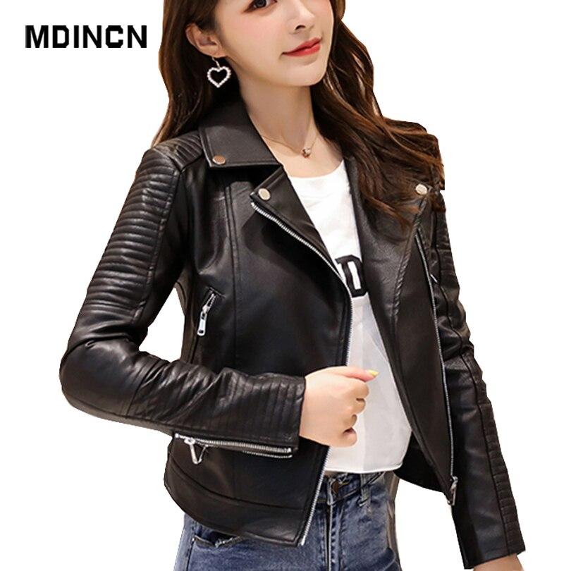 MDINCN Spring Autumn New   Leather   clothing Women Suit Collar Short   leather   jacket Female Slim Motorcycle Women Jackets