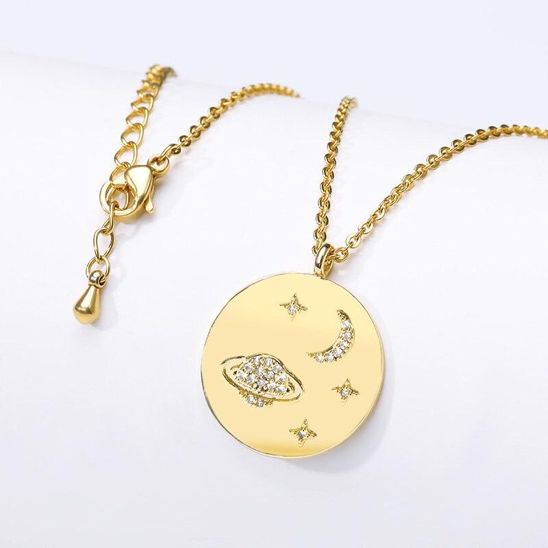 Étoile Saturn Collares Bijoux rond pièce collier femmes cadeau d'anniversaire en acier inoxydable chaîne disque pendentif mode Bijoux 2019
