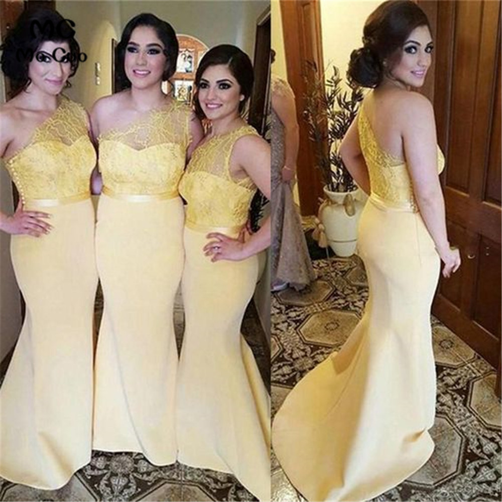 Yellow One Shoulder Mermaid Wedding Party Dress Bridesmaid Dresses With Lace Elastic Satin Long Bridesmaid Dress For Women