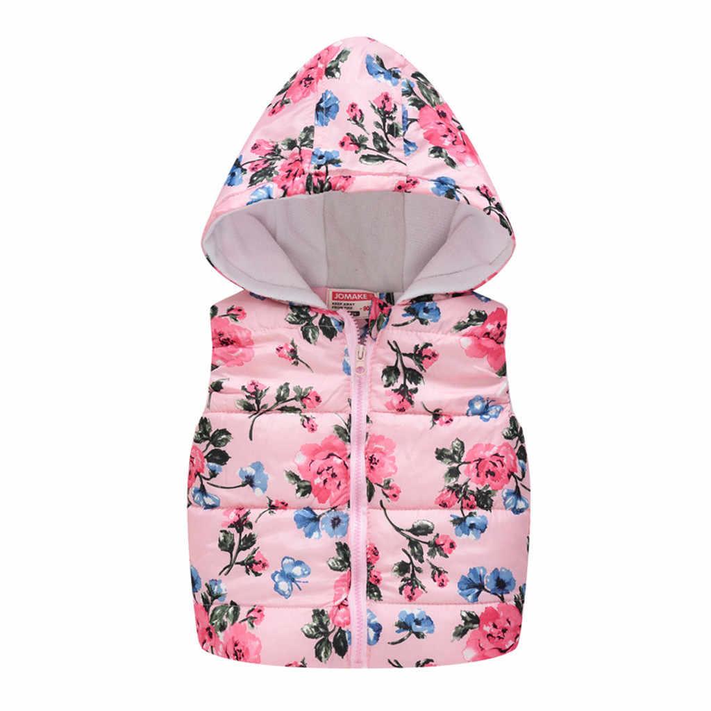 เด็กทารกเสื้อกั๊ก 2019 ฤดูหนาว hoodie สำหรับสาวเสื้อกั๊กเด็ก Warm zipper ดอกไม้น่ารัก Outerwear ชายเสื้อกั๊กเสื้อผ้า L30830
