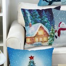 HOT 45*45cm Christmas Snowman Throw Pillow Case Cushion Cover Sofa Bed Car Decor Home Hotel Kids Room Christmas Decoration christmas snowman print throw pillow case