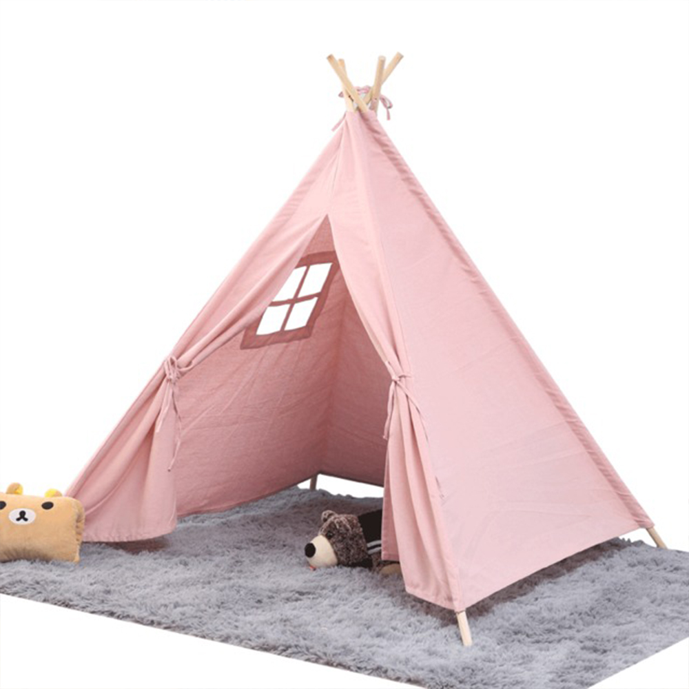 Portable Wigwam Children's Tent Cotton Canvas Tipi House Kids Tent Girls Play House Game House India Triangle Tent Room Decor