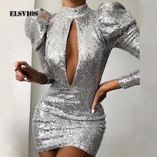 Элегантное Вечернее Платье с пышными рукавами для женщин, яркое блестящее облегающее платье женский с открытой спиной, блестящее мини-Клубное платье с блестками