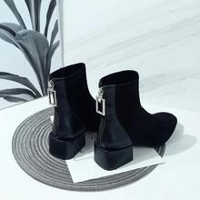 Crystal Ziper Black Boots Women Elegant Platform Ankle 2019 New Autumn Slip On Fashion Brand Sexy Ladies