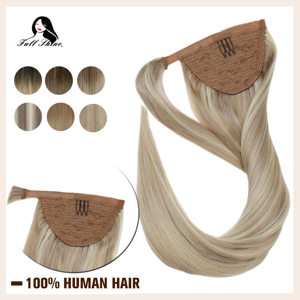 Voller Glanz Pferdeschwanz Extensions Clip in 80g/100g Maschine Made Remy Wrap Um Pferdeschwanz für Weiße Frauen gerade Haar Verlängerung
