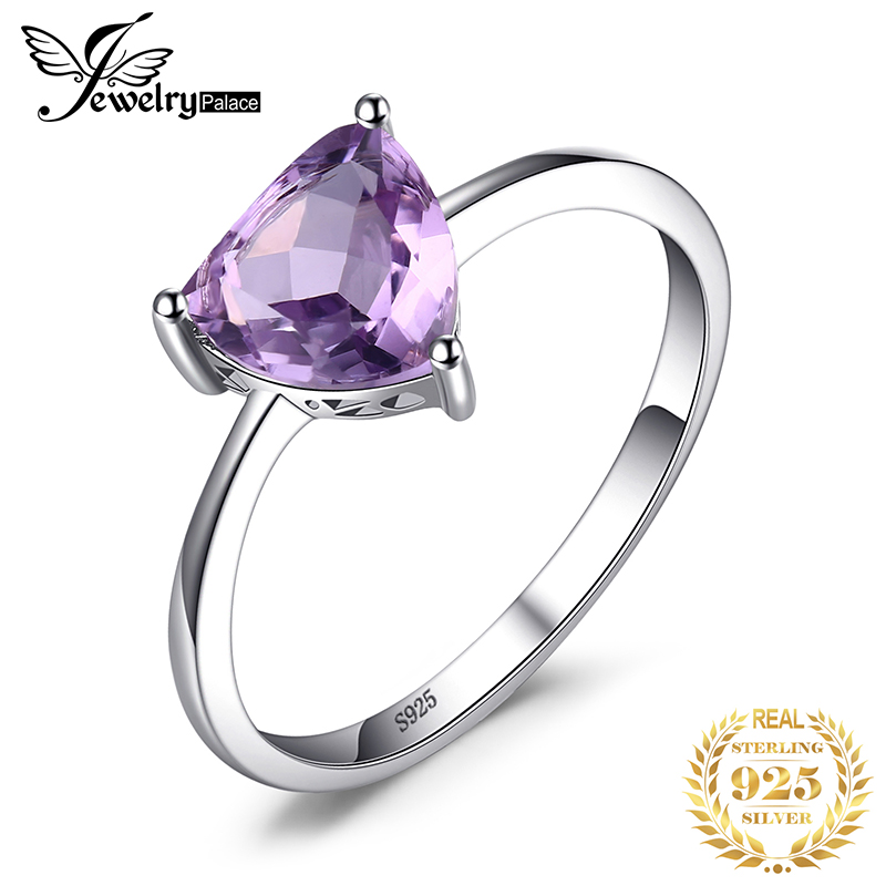 JewelryPalace Genuine Amethyst Ring Solitaire 925 Sterling Silver Rings For Women Engagement Ring Silver 925 Gemstones Jewelry