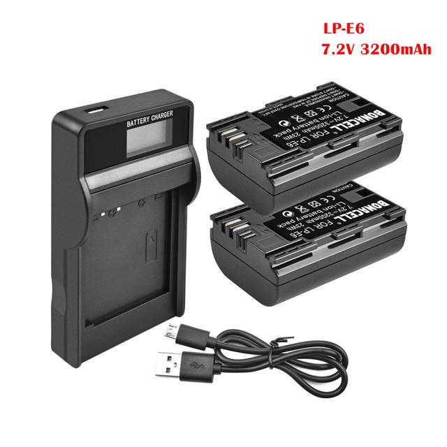 Batería de LP E6 + Cargador de Batería Dual para Canon EOS 80D, 6D, 7D, 70D, 60D, 5D Mark III, 5D Mark II, BG E14, BG E11, BG E9