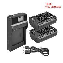 Batterie LP E6 + double chargeur de batterie pour Canon EOS 80D, 6D, 7D, 70D, 60D, 5D Mark III, 5D Mark II, BG E14, BG E11, BG E9, BG E7