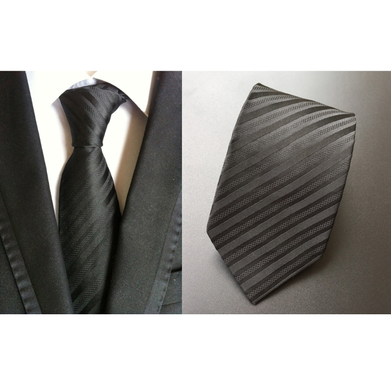 Men Classic Black Stripes Woven Jacquard Tie Casual Neck Ties Business Accessory 2XPC