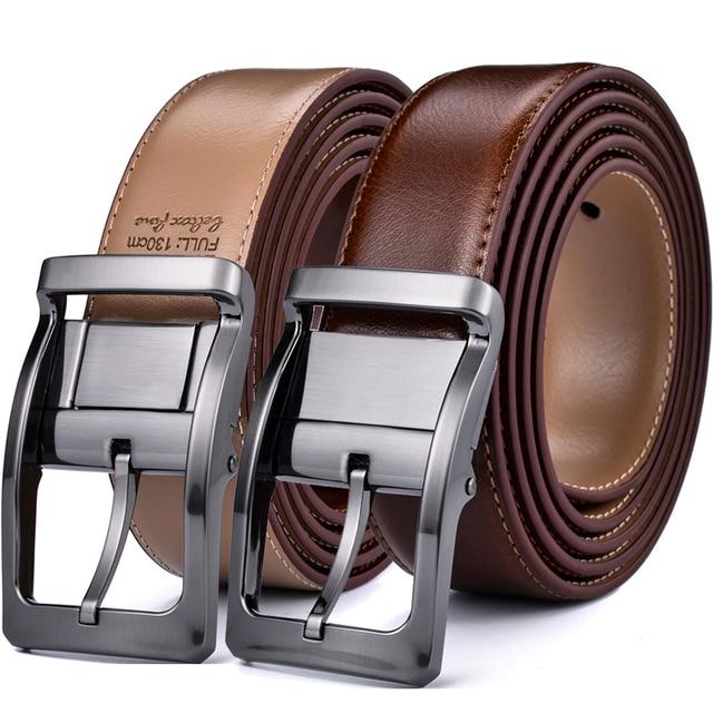 Мужской Реверсивный классический кожаный ремень с вращающейся пряжкой от 85 см до 160 см два в одном от Beltox fine