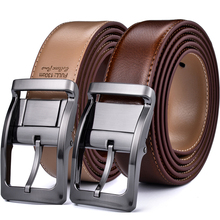 Beltox Cinturón Reversible de cuero para hombre, cinturón clásico de 85cm a 160cm, hebilla de rotación, dos en uno
