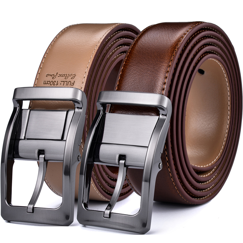 Men's Reversible Classic Dress Belt Italian Leather 85cm To 160cm  Rotating Buckle Two In One By Beltox Fine