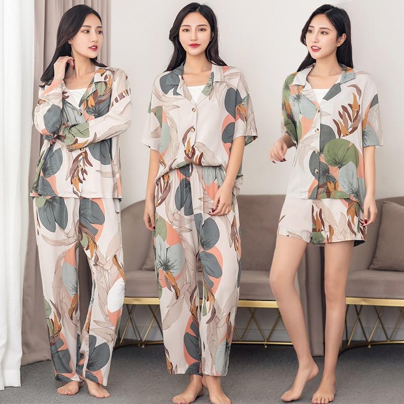 Leaves Printing Pajamas Set For Women 2020 Spring And Summer Autumn Tops With Trousers Pajamas Set Cardigan Printing Pajamas
