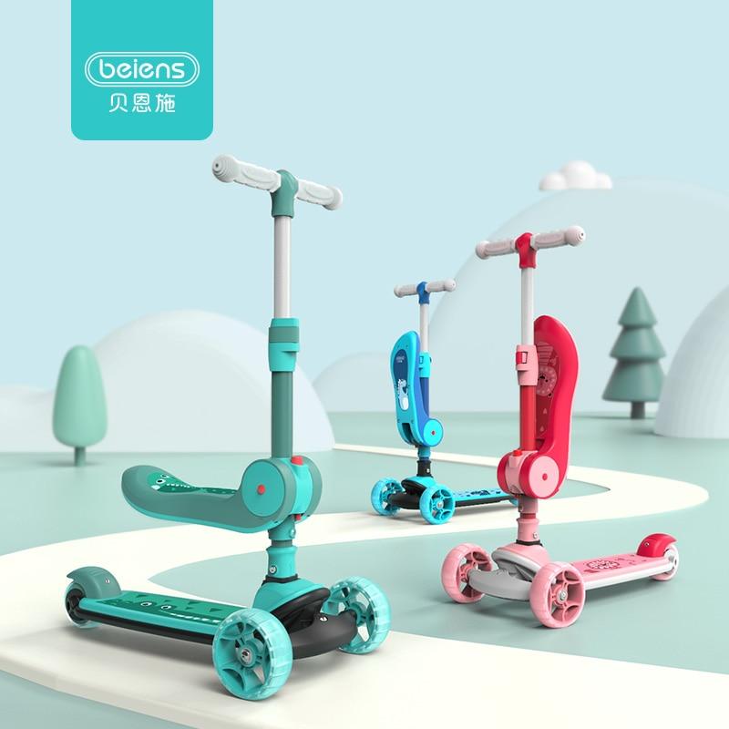 Beiens enfants Scooter 3 roues pliant Balance Tricycle clignotant roue enfants Sport de plein air jouet avec siège pliant cadeau d'anniversaire