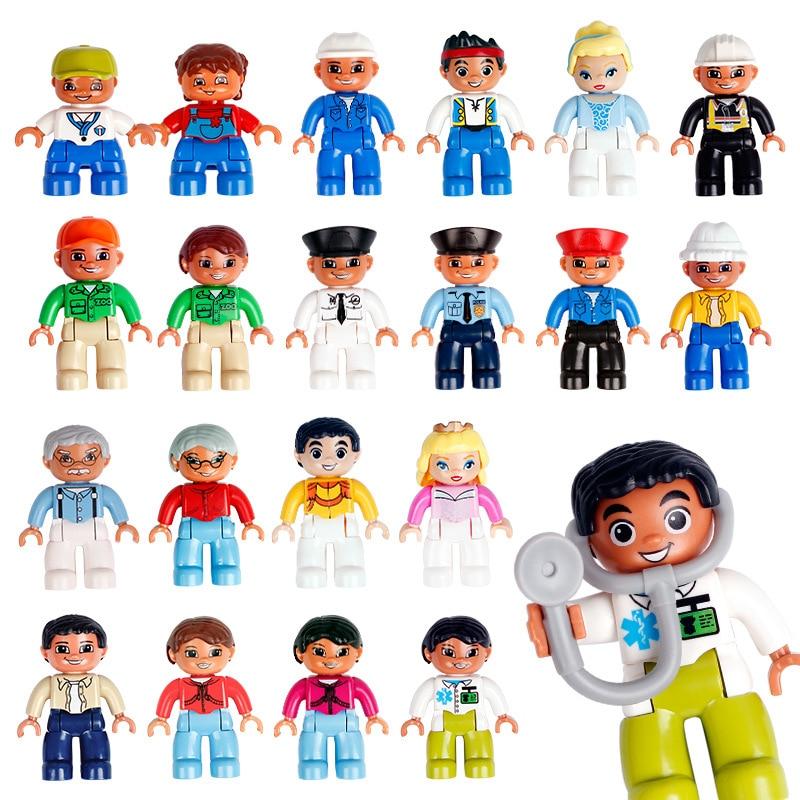 Tamanho grande blocos de construção figuras tijolo brinquedos para crianças família profissional boneca figura modelo brinquedo educacional meninos e meninas presente