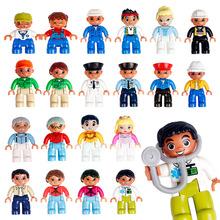 Duży rozmiar klocki klocki zabawki dla dzieci kompatybilny z lego Duplos dzieci figurki lalki Model zabawki dla chłopców dziewcząt prezent tanie tanio supstem Certyfikat Figures Model Building Blocks Toys For Children 3 lat Big Size Bricks Toys For Kids Bloki Unisex Z tworzywa sztucznego