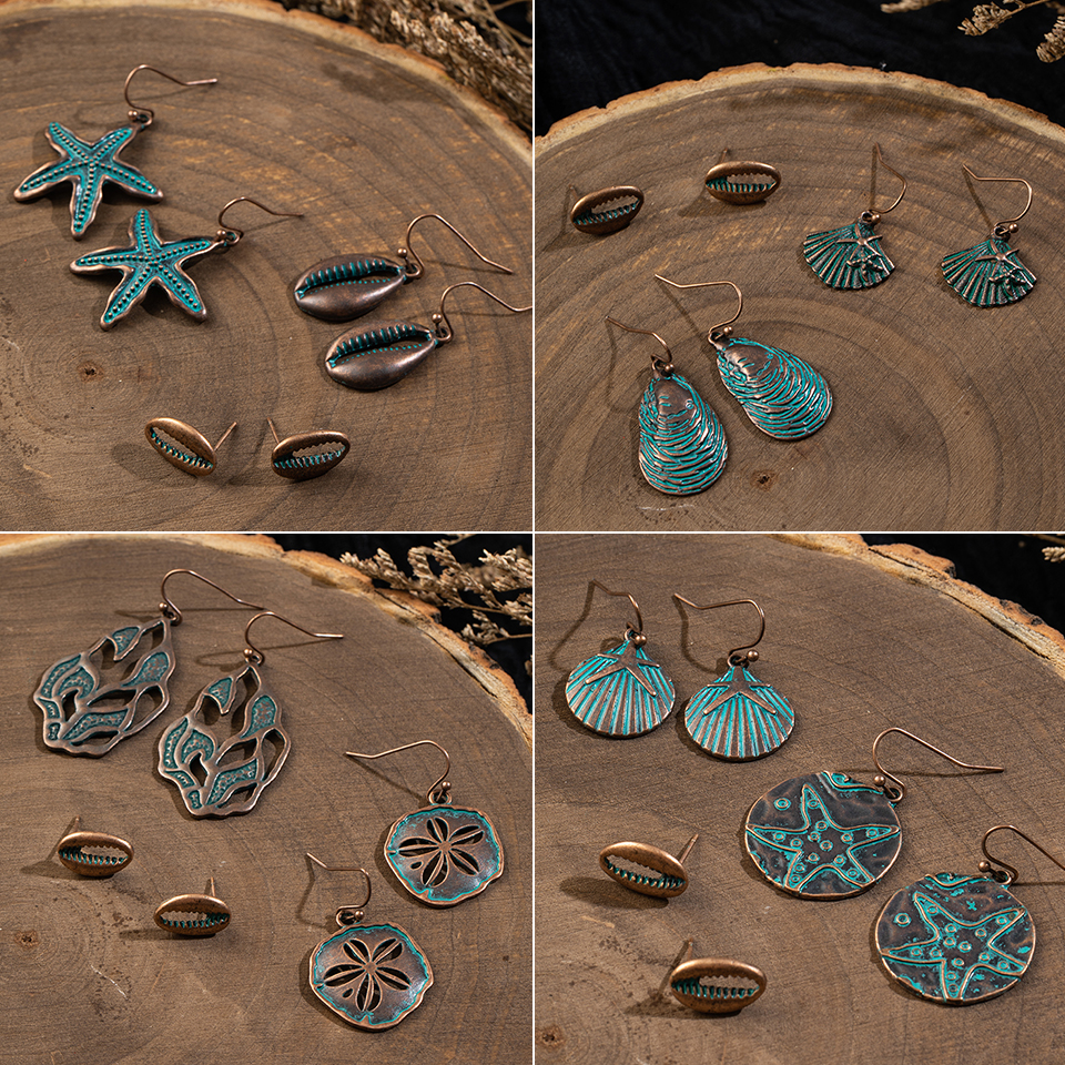 Multiple 3 pairs/Set Vintage Boho Ethnic Starfi Shell Dangle Drop Earrings Suit For Women Fashion 2019 Indian Jewelry