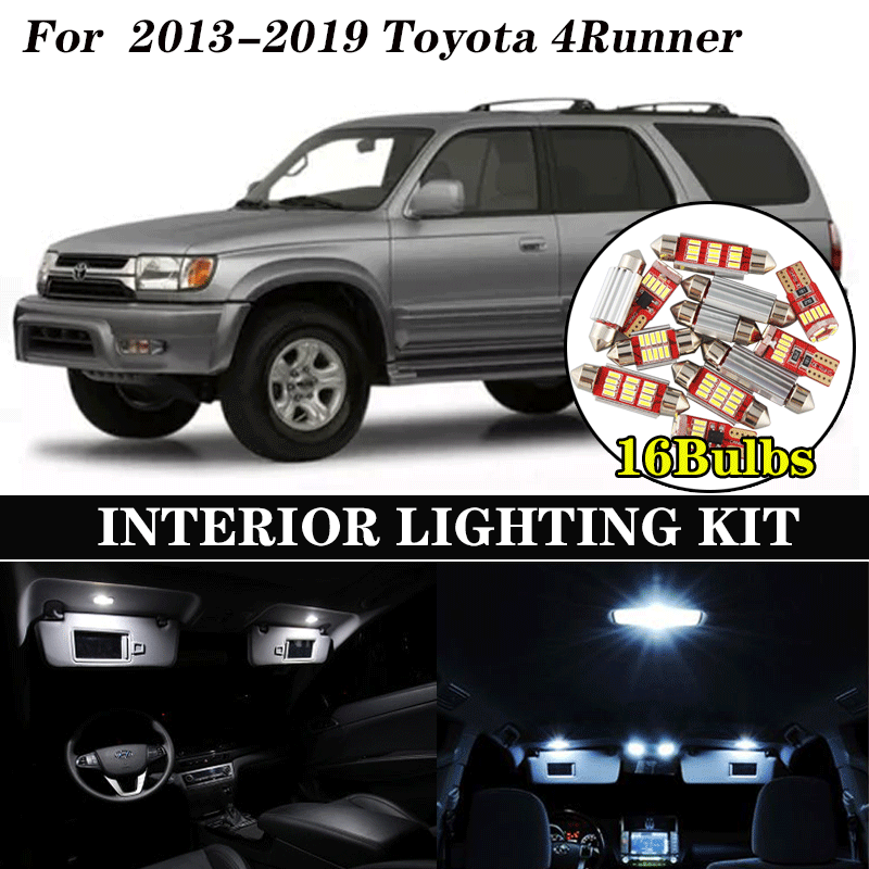 16pcs White Bulb LED Car Light Interior Kit For 2013 2014 <font><b>2015</b></font>-2019 <font><b>Toyota</b></font> <font><b>4Runner</b></font> Map Dome Trunk Glove Box Lamp image