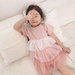 2 3 4 5 6 anos da criança menina vestido casual manga curta tule tutu costura vestido de princesa crianças roupas de verão do bebê vestido de menina