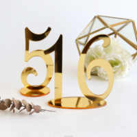 Mirror Gold Table Numbers for Wedding Party or Event, Wedding Decor for Wedding Table Number Signs, Table Place Cards