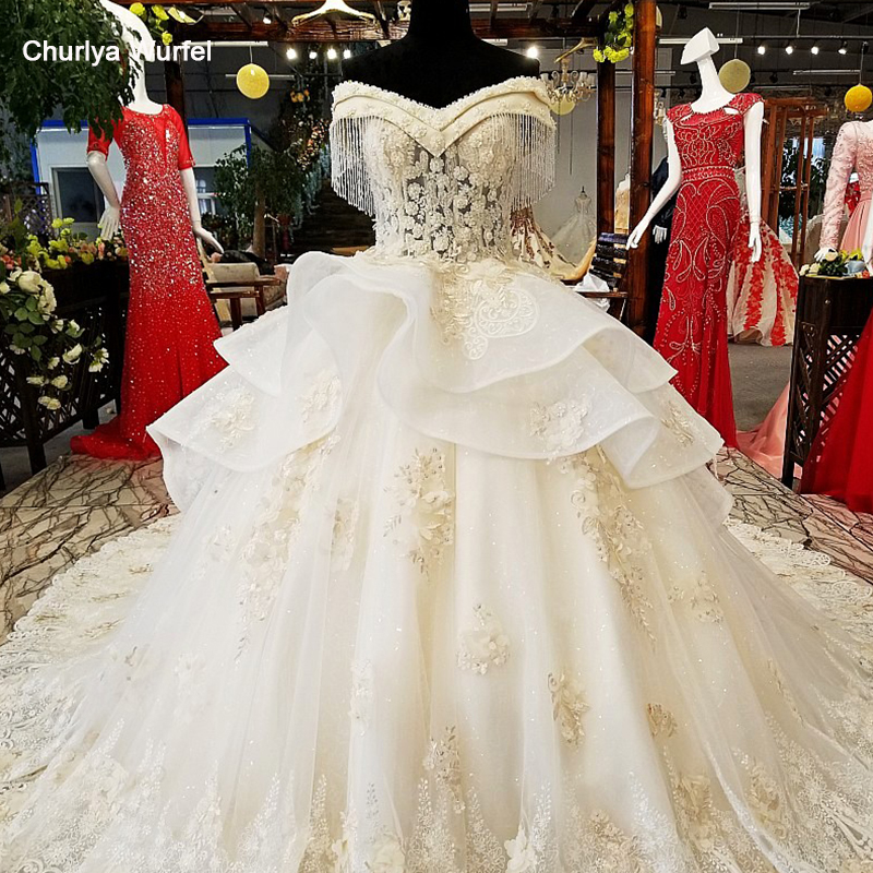 LS16565 100% Real Show Super Puffy Wedding Dress 3D Flowers Sweetheart Neck Off Shoulder 2018 Beaded Wedding Dress With Peplum