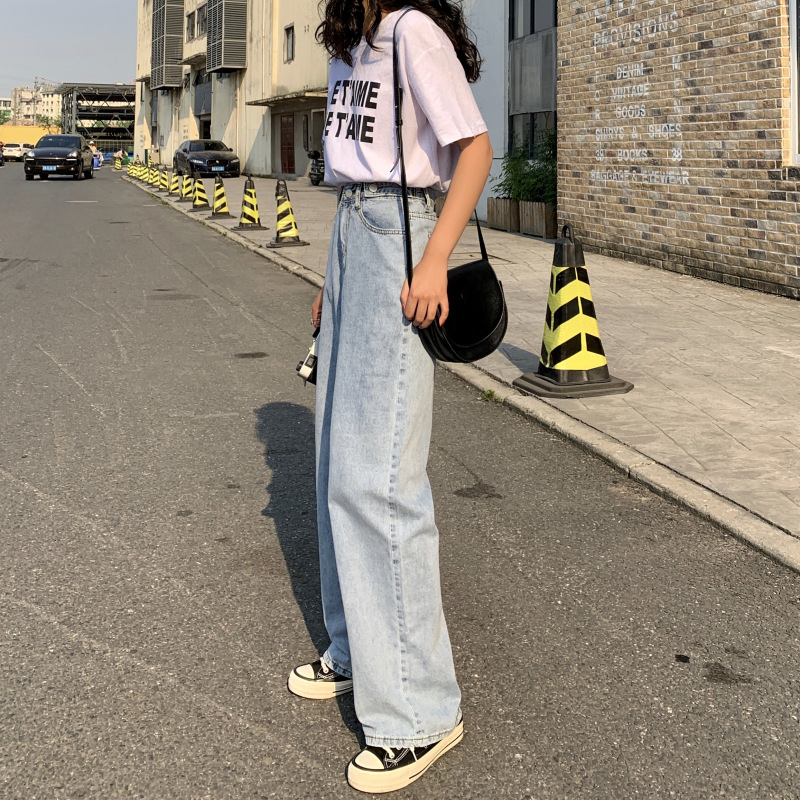 Photo Shoot 2019 Hyuna Celebrity Style Retro Floor-Length Pants Online Celebrity Dad Pants Thin Cowboy Trousers