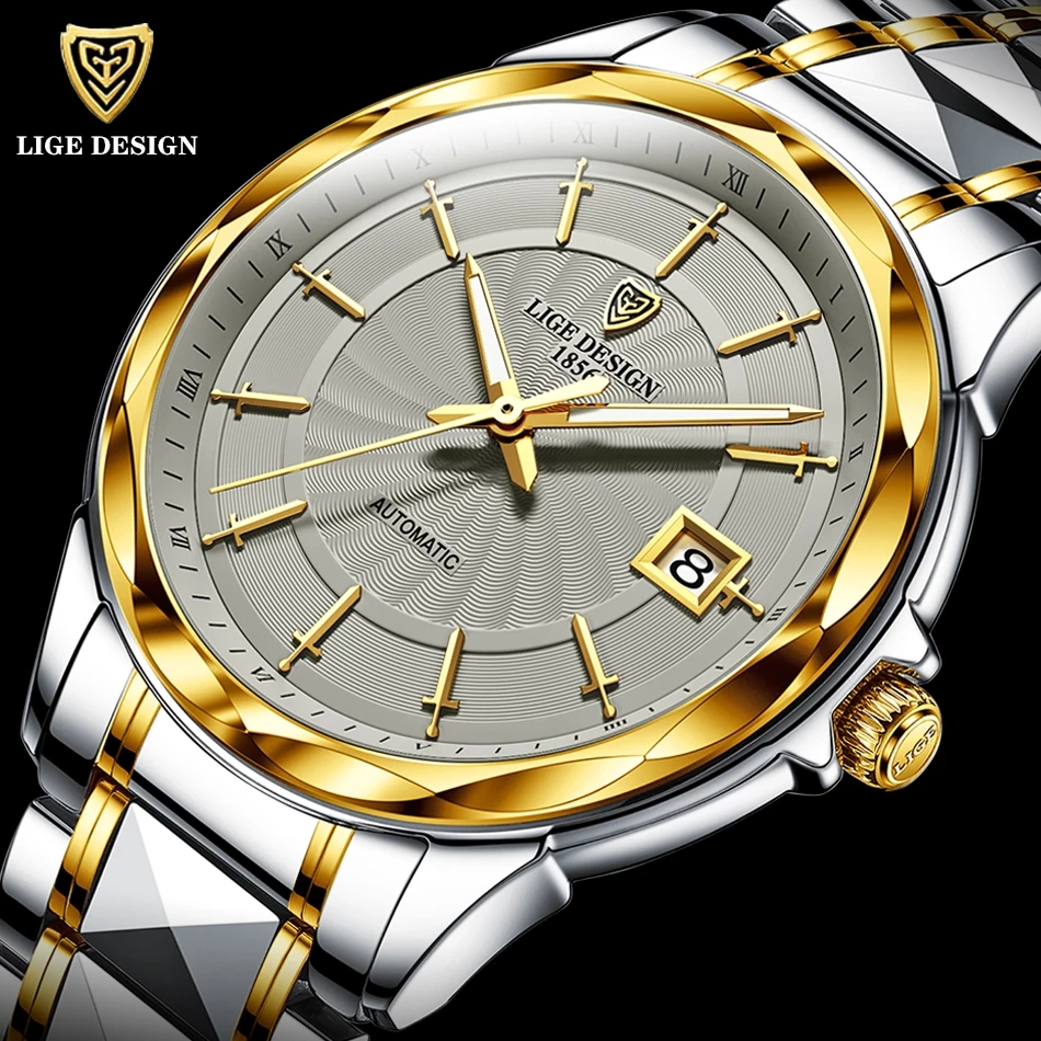2020 LIGE Fashion Wrist Watch Men Automatic Tourbillon Tungsten Steel Waterproof Business Mechanical Watches Relogio Masculino