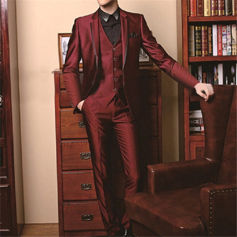 Costume Homme Mens Suit (Jacket+Pants+Vest+Tie) Custom Morning Groom Tuxedos Burgundy Groomsman Wedding Bridegroom Tailcoat