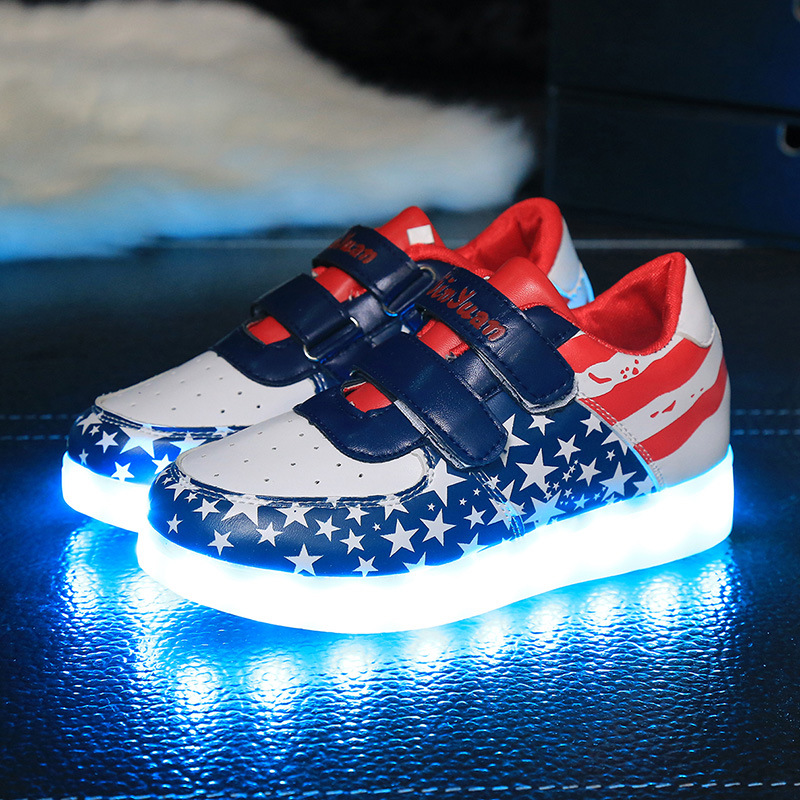 New Size 25-35 Children Glowing Shoes Colorful Star Boys Girls Sport Running Usb Charge Kid LED Luminous Sneakers